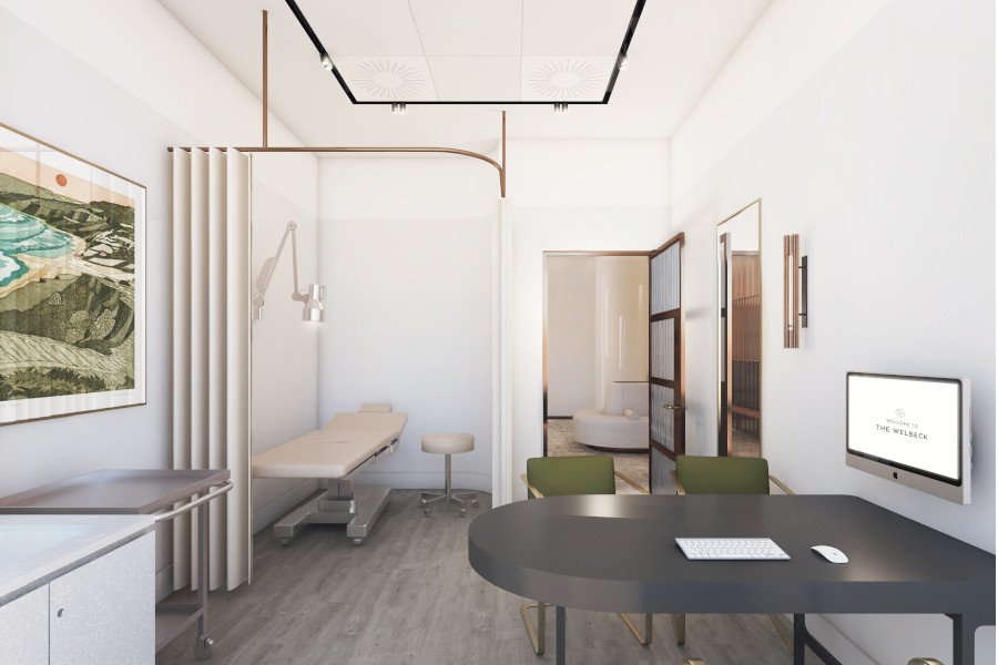 Ground floor consulting room for Welbeck Health's new day surgery at 1 Welbeck Health, London.
