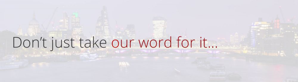 London backdrop with text saying don't just take our word for it