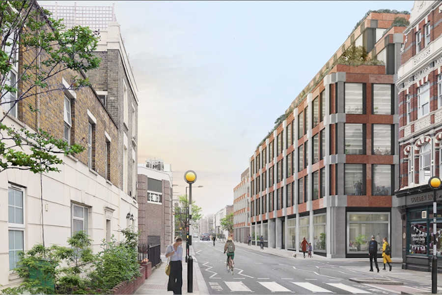 Caruso St John St Pancras Commercial Centre, Camden, North London, exigere, Pratt Street, CGI street view of the corner of project building