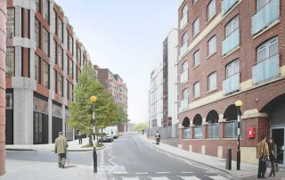 Caruso St John St Pancras Commercial Centre, Camden, North London, exigere, Pratt Street, CGI street view image with people crossing the road showing one side of building
