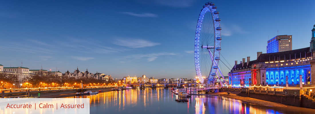 London eye at night to a backdrop of the London waterfront Accurate Calm Assured