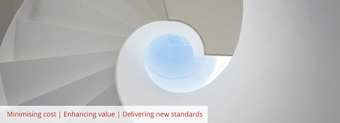 Ground floor perspective view of spiral staircase Minimising cost Enhancing value Delivering new standards