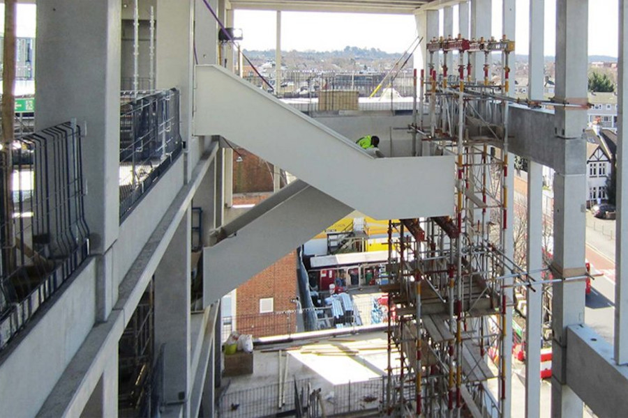 Close-up view of construction works taking place at the now fully refurbished Kingston University campus buildings