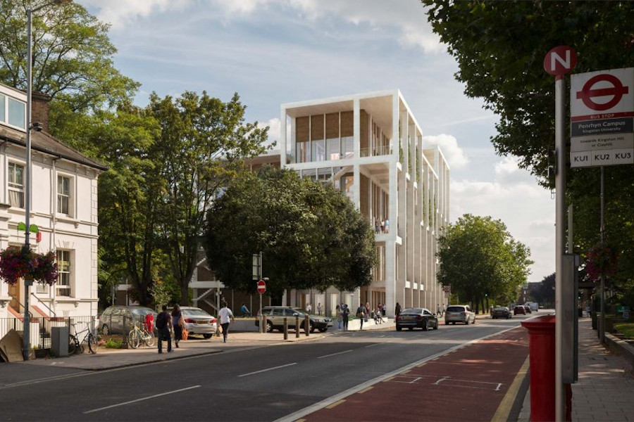 Street perspective of renovated Kingston University property in London