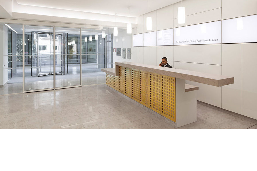 Receptionist working in the lobby at the Maurice Wohl Institute in London