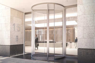 CGI of entrance to The Tower Partnerships 15 Bishopsgate development in London.