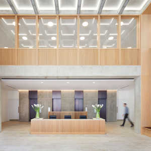CGI internal view of reception of The Copyright Building at Fitzrovia for Derwent London in London.