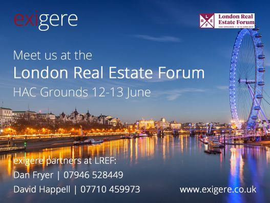 Advert for exigere's attendance at London Real Estate Forum 2019