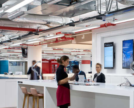 Staff working in an open plan office at Landsec's BREEAM Outstanding and WELL Certified Silver 80-100 Victoria Street.