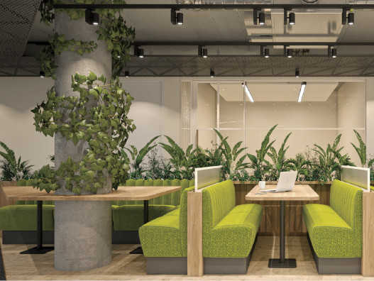 Biophilic interior design at FORA's Southward Bridge Road development in London