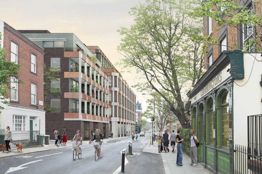 CGI of St. Pancras Commercial Centre, W.RE's 260,000ft² mix use development in Camden