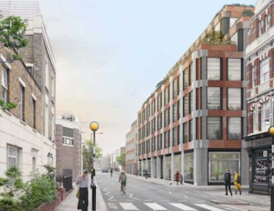 Roadside view of W.RE 260,000ft² mix use development St. Pancras Commercial Centre in Camden.